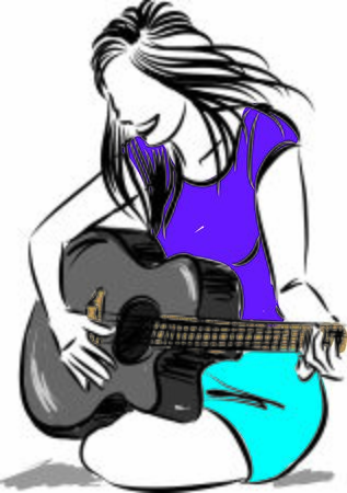 pretty woman playing guitar vector illustration