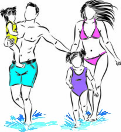 happy family at the beach vector illustration Archivio Fotografico - 138295088