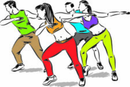 fitness group of people dancing vector illustration Vetores