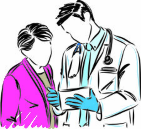 doctor with woman patient vector illustration 向量圖像