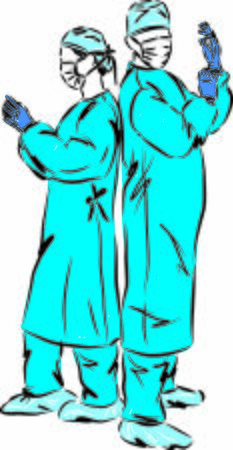 two doctors man and woman with gloves and masks vector illustration Ilustração