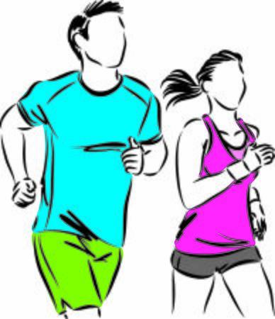 couple man an woman jogging vector illustration Ilustración de vector