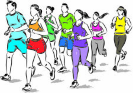 group of people jogging running vector illustration Ilustración de vector