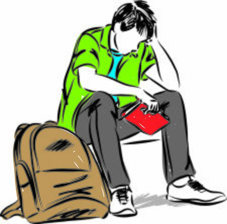 TEENAGER STUDENT SAD SITTING DOWN WITH BOOK VECTOR ILLUSTRATION
