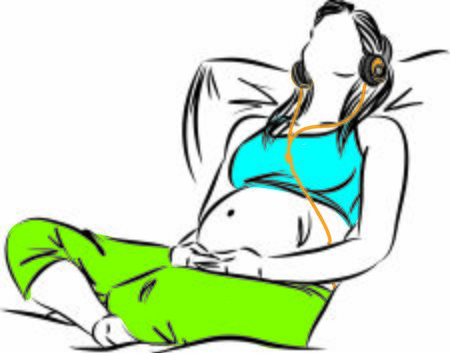 pregnant woman relaxing listening music vector illustration