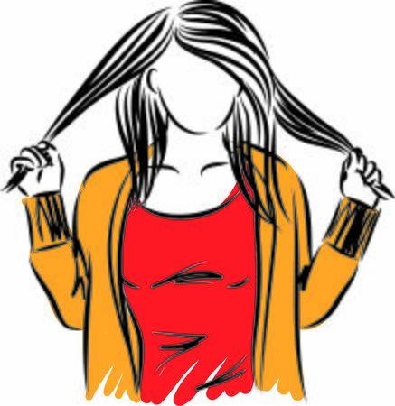 pretty woman pulling hair vector illustration