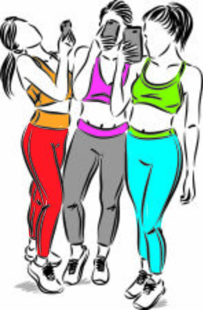 fitness women taking pictures vector illustration