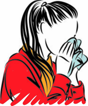 Young woman sneezing prevention concept.Vector Illustration