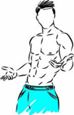 fitness man body muscles gym concept vector illustration Ilustración de vector