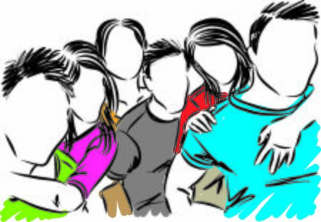 friends teenagers having fun vector illustration