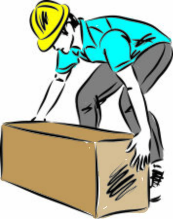 worker lifting heavy box vector illustration