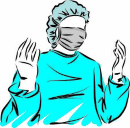 doctor with gloves vector illustration