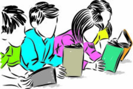 children reading books vector illustration