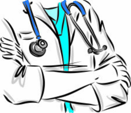 doctor posture with stethoscope medical concept vector illustration