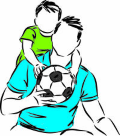 father and son with soccer ball playing together vector illustration Иллюстрация