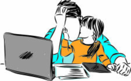 father with daughter working from home vector illustration