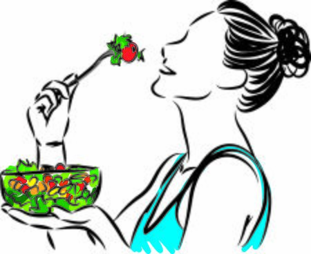 pretty woman eating salad nutrition concept vector illustration