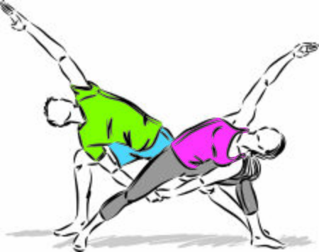 couple stretching fitness exercising yoga vector illustration