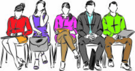 PEOPLE TOGETHER IN WAITING ROOM SITTING VECTOR ILLUSTRATION Иллюстрация