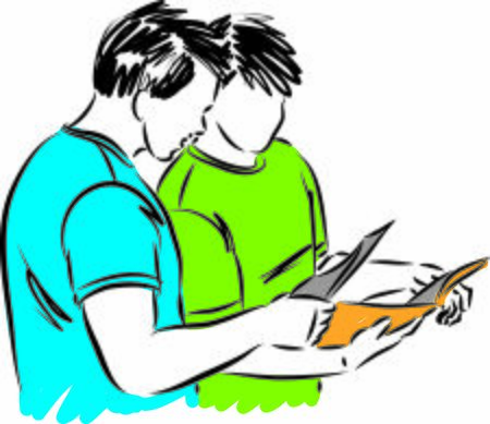 Two students reading together vector illustration