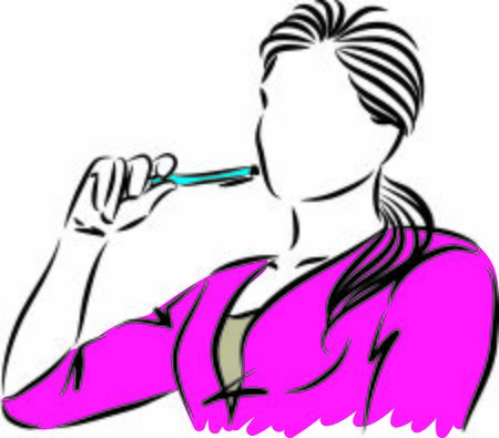 woman with pen thinking vector illustration