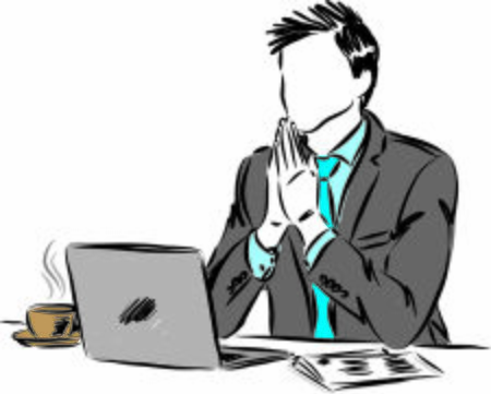 businessman praying gesture in front computer vector illustration