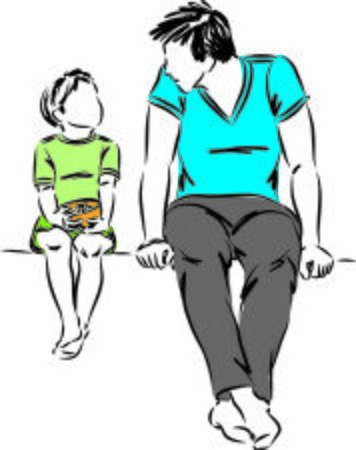 father talking with son vector illustration