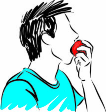 young man eating apple vector illustration