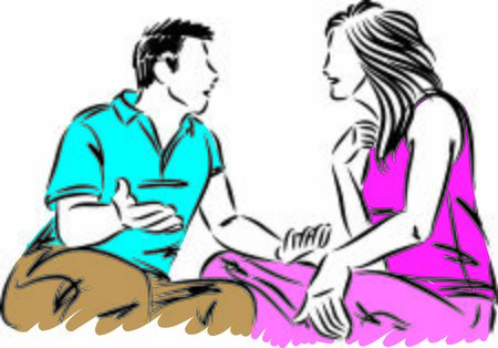 couple man and woman discussing fight conversation vector illustration
