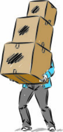 MAN WITH HEAVY WITH THREE BOXES MOVING CONCEPT vector illustration