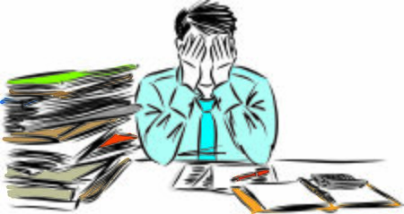 stressed man with lot paper work vector illustration