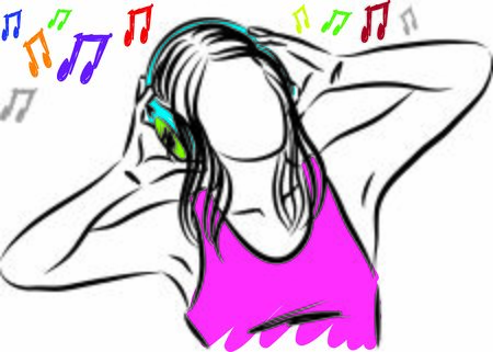 young woman listening music with headphones vector illustration