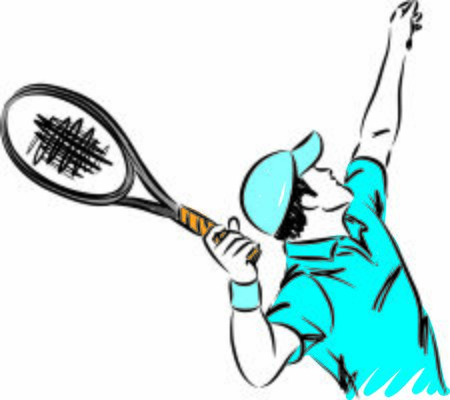 tennis player man with racket vector illustration
