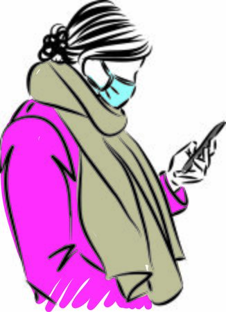 woman with cellphone and mask prevention concept vector illustration