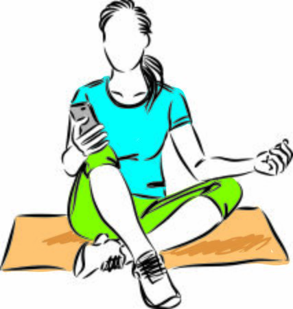 relaxed woman fitness yoga with cellphone vector illustration