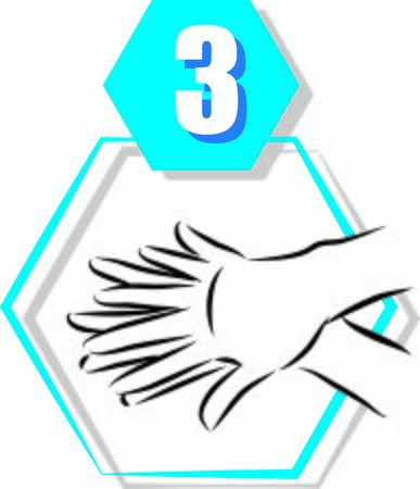 3 disinfecting hand prevention step by step vector illustration