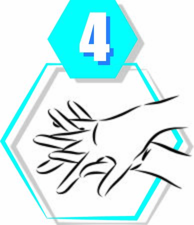 4 disinfecting hand prevention step by step vector illustration