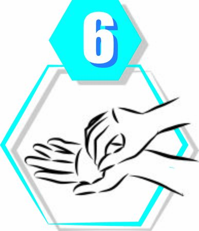 6 disinfecting hand prevention step by step vector illustration