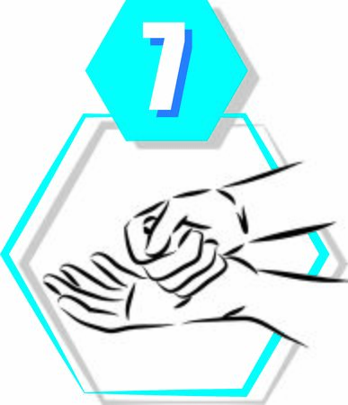 7 disinfecting hand prevention step by step vector illustration