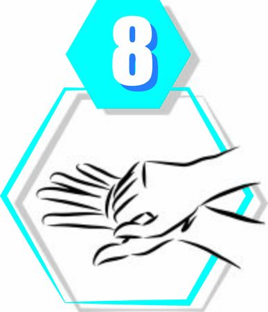 8 disinfecting hand prevention step by step vector illustration