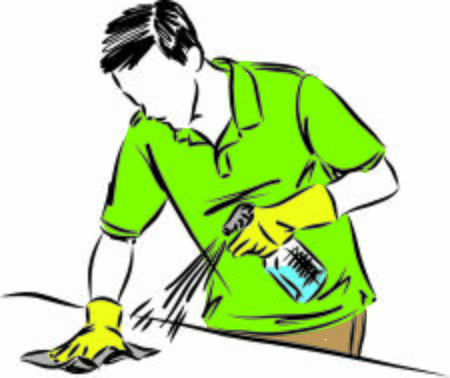 man cleaning table with disinfectant vector illustration