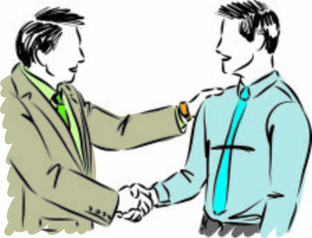two workers businessmen shaking hands vector illustration