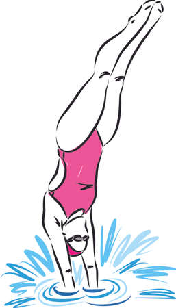 professional swimmer diving vector illustration