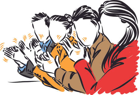 SUCCESFUL PEOPLE TEAMWORK CLAPPING HANDS vector illustration