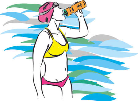 professional swimmer drinking water vector illustration