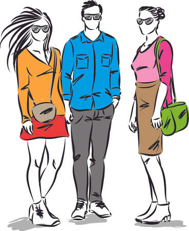 fashion young people modeling clothes vector illustration