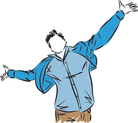 very happy man freedom concept vector illustration Vettoriali
