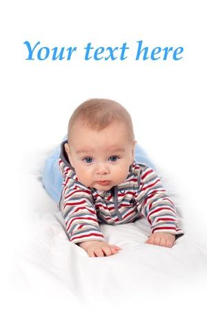 Little baby boy on white background thinking Stock Photo