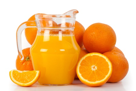 Glass of juice made of oranges
