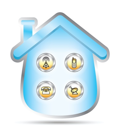illustrating: Set of icons illustrating telecomunication services inside a blue house